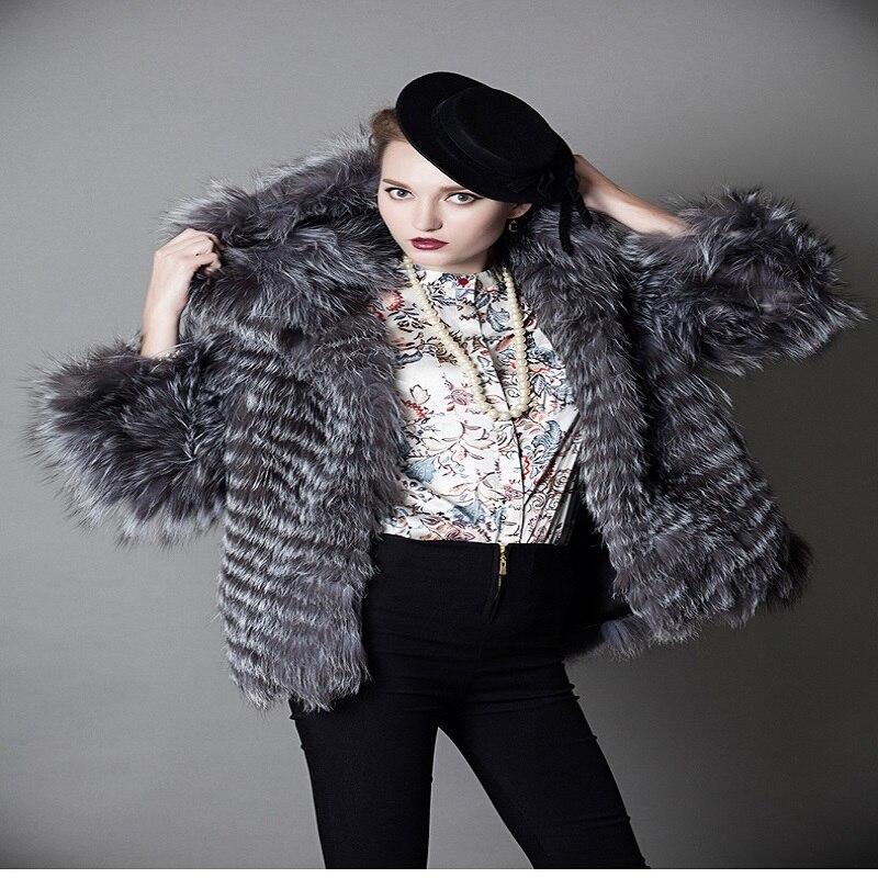 New fashion pure natural silver fox fur coat hooded fur coat short suede coat foxFur Coat