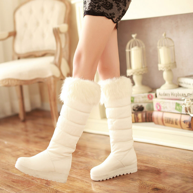 2015 winter waterproof snow boots fahion knee high boots Stylish cute white  faux fur wedge boots plus size pink lady black boots-in Snow Boots from  Shoes on ... c211c8d18