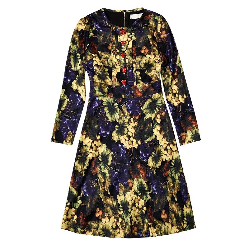 De En Mince Longues See Imprimée Robes Dames Fond Hiver Pour Forage Raisin Chart Nouvelle Avec Soie Manches Mousseline Boutons Et Taille xwY8CBBq