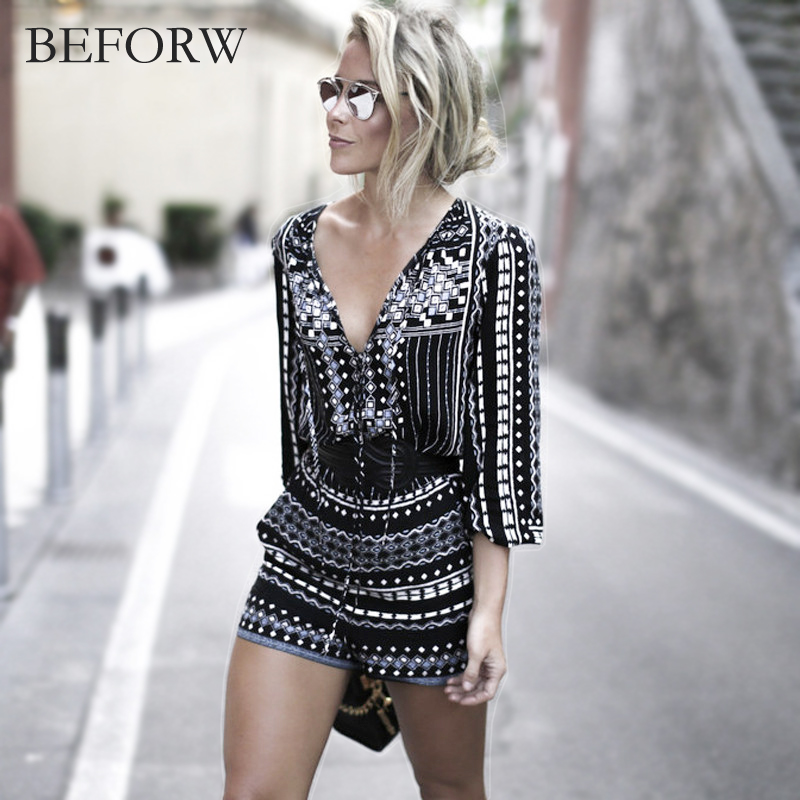 BEFORW NEW Sexy Jumpsuit Women Vintage Print Bodysuit Fashion Casual Ladies Loose Beach Body Suit Sexy Rompers Womens Jumpsuit