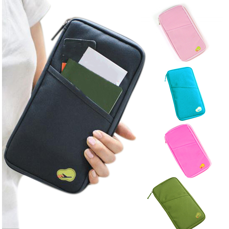 New Multifunctional Handbag Travel Passport Credit ID Card Cash Wallet Purse Holder Document Bag Zipper Makeup Organizer WML99 travel bag wallet purse document organizer zipped passport tickets id holder new