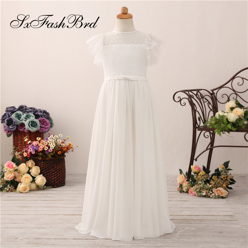 Lovely   Flower     Girl     Dresses   O Neck Short Sleeves A Line Chiffon Long   Girl   Pageant   Dress   Robe Mariage Fille