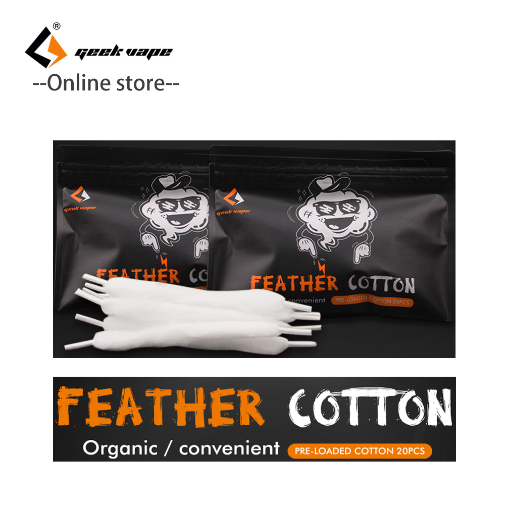 цены 20PCS/Pack Original Geekvape Feather Cotton vape accessories Organic Cotton for RDA rta RDTA Tank vape cotton vs cotton bacon
