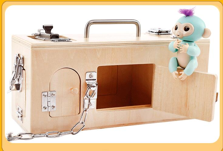 Montessori materials wooden lock and unlocking box teaching aids Children Learning educational toy dollmai31605