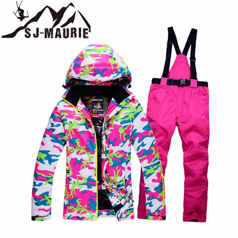 Sj-maurie femmes combinaison de neige 2 pièces veste de Ski + pantalon femmes hiver coupe-vent imperméable combinaison de Ski en plein air randonnée patinage vêtements de Ski