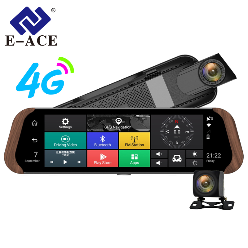 E-ACE Car DVR Camera 4G Android 10 IPS Stream RearView Mirror Full HD 1080P Dash Cam ADAS Auto Registrar GPS Video Recorder