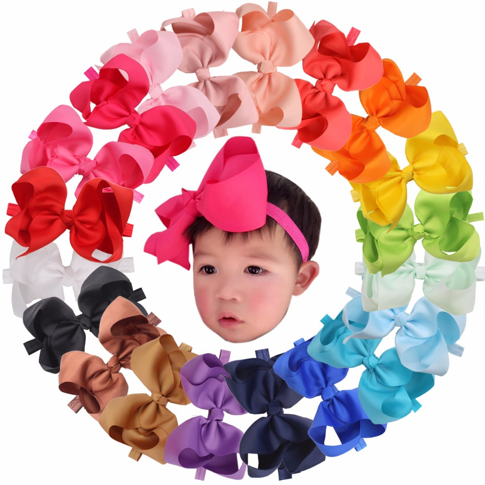 20 Pcs 6 Inches Big Bows Baby Girls Toddlers Kids Teens Children Grosgrain Ribbon Hair Bows Soft Elastic Baby Headbands
