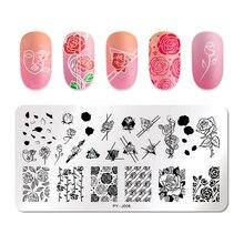 PICT คุณแผ่นปั๊มเล็บ Rose ดอกไม้รูปแบบสี่เหลี่ยมผืนผ้าแผ่นภาพเรขาคณิตแสตมป์แม่แบบ Nail Art แผ่น