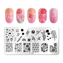 PICT YOU Nail Stamping Plates 장미 꽃 패턴 직사각형 플레이트 이미지 기하학 스탬프 템플릿 네일 아트 스텐실 플레이트