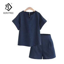 Casual Cotton Linen Two Piece Sets Women Summer V-Neck Short Sleeve Tops+Shorts Female Office Suits Set Women's Costumes S81201A