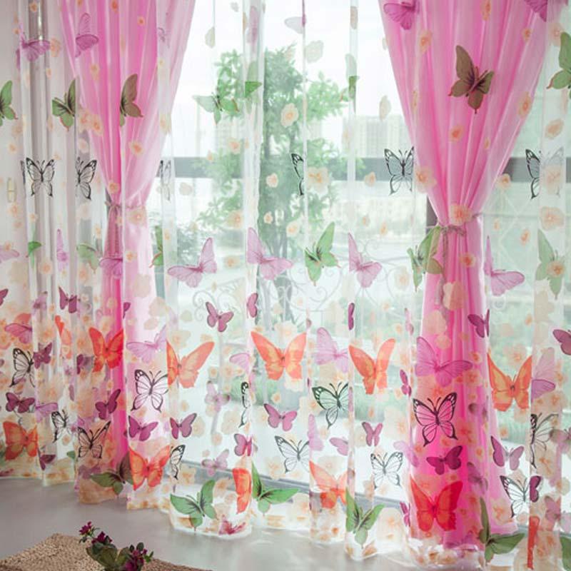 Fashion Curtains Butterfly Flower Gauze Curtain Strip Tassel Drape Decorate For Living Room Door Window FP8