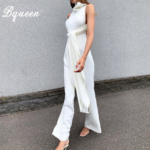 Bqueen 2019 New Summer Women Jumpsuit Romper Elegant Stand Neck Sleeveless With Belt Irregula Jumpsuit Celebrity Party Bodysuit(China)