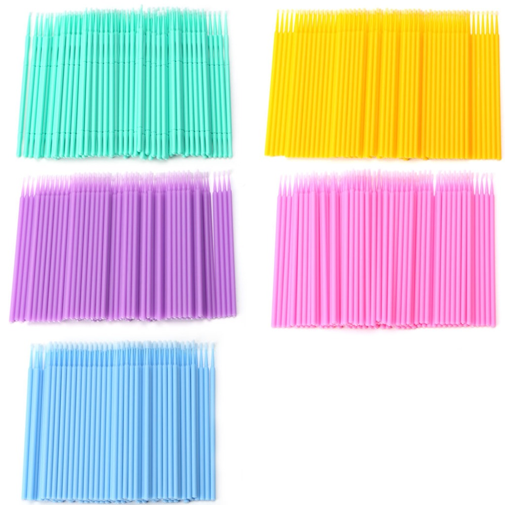 100Pcs Disposable Individual Lash Removing Micro Brush Eyelash Extension Tools New