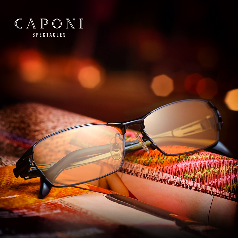 CAPONI Men s Pure Titanium Frame With Polarized Day Night Driving Photochromic Lenses Sunglass BSYS1190