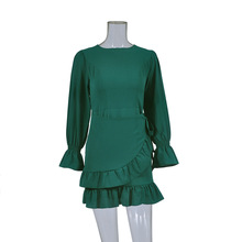 7 Colors Women Autumn Spring O-neck Long Sleeves Ruffles Elastic Cuff Mini Cotton Dress FS0609