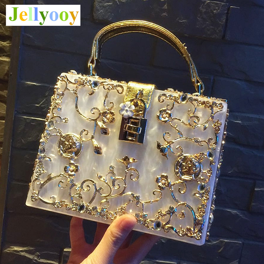 Luxury Brand Famous Design Retro Box Bag Lock Box Tote Bag Hollow Carved Diamond Evening Bags High Quality Women Shoulder Bags