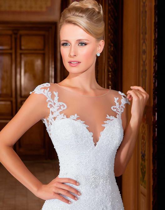 Vestido-de-noiva-New-Design-Sheer-Neck-Cap-Sleeve-Mermaid-Appliques-Beading-Court-Train-Tulle-Wedding