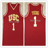 #1 Nick Young USC Trojans Retro College Mens Basketball Jersey Embroidery Stitched Custom Any name and number