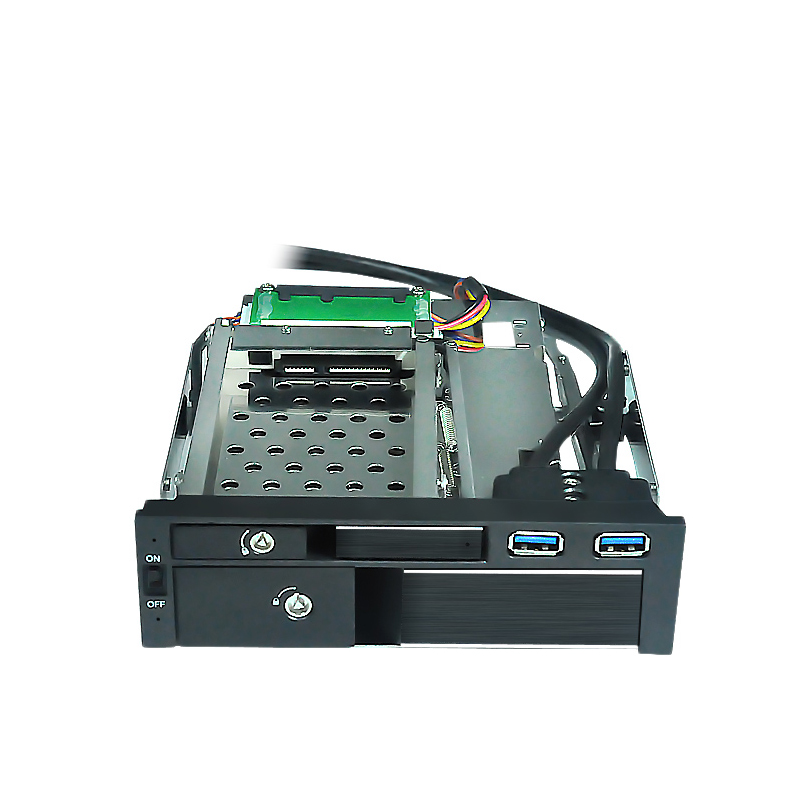 2.5+3.5 aluminun sata inernal hdd mobile rack with lock design with USB3.0 port