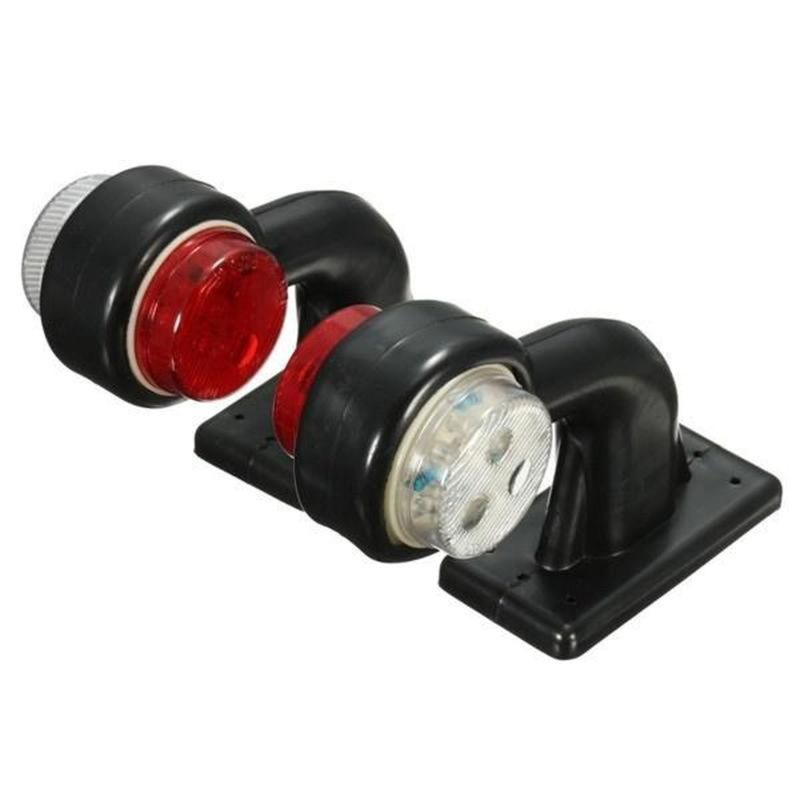 2PCS 12LED Side Marker Lights White Red Elbow Lamp Compatible With 24V Trailer Truck