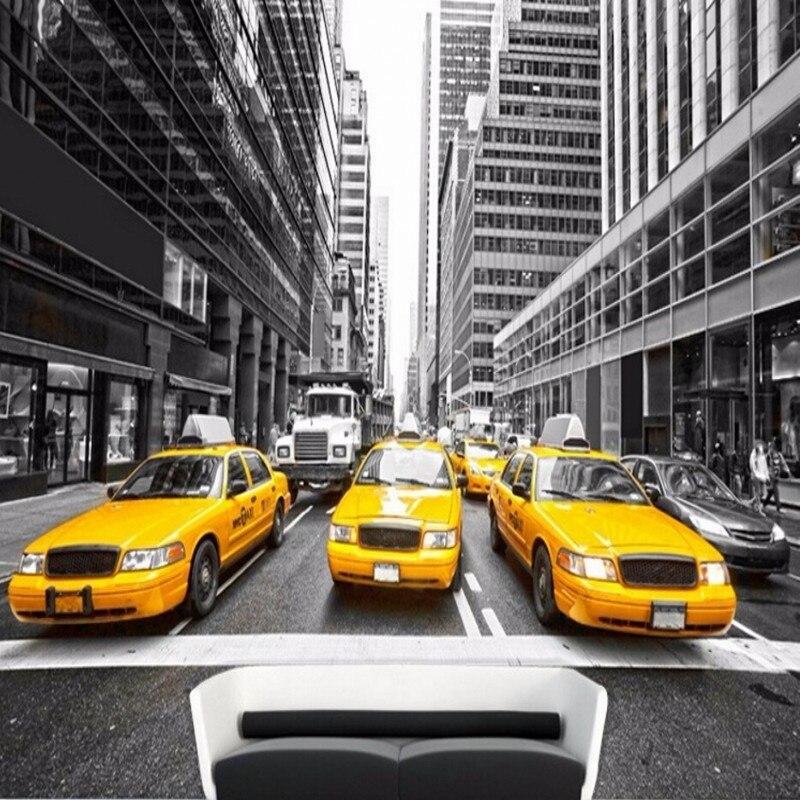 Beibehang New York Gelb Taxi 3d Wallpaper Hintergrundtapete Der Schwarz Und Weiss Wohnzimmer Schlafzimmer Tapeten