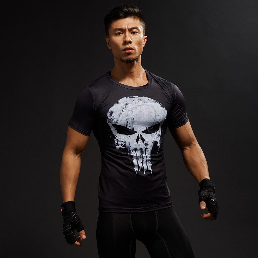 Punisher 3D Printed T-shirts Men Compression Shirts Long Sleeve Cosplay Costume crossfit fitness Clothing Tops Male Black Friday 3