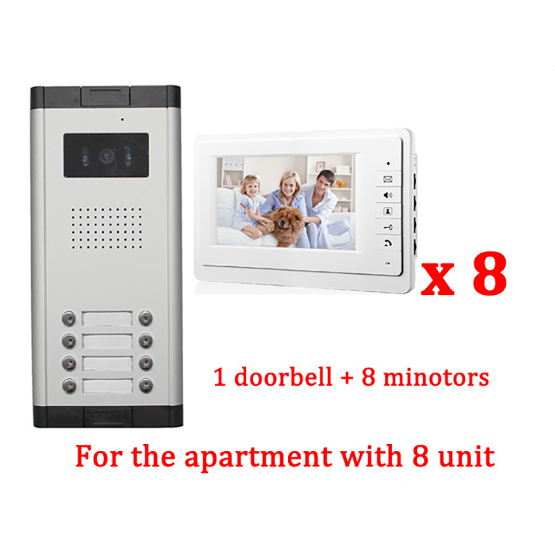 7 LCD Apartment Wired Video Door Phone Audio Visual Intercom Entry System 1 HD Outdoor Camera With 8 monitor diysecur 7 4 wired apartment video door phone audio visual intercom entry system ir camera for 6 families