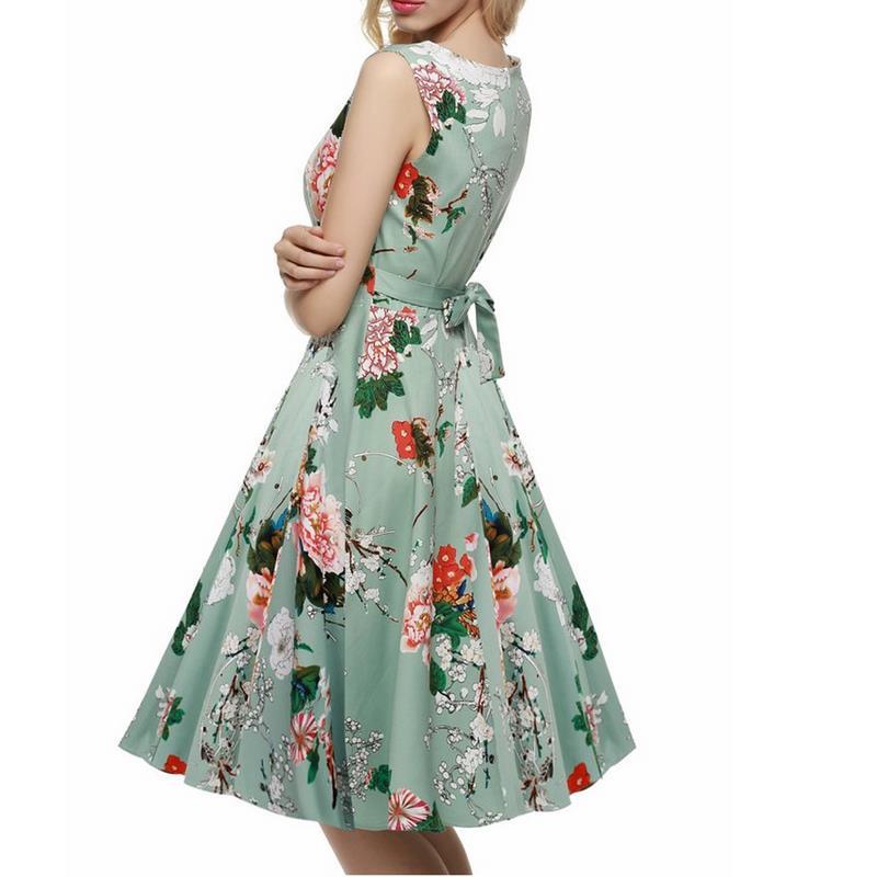 Green Flower Bow Vintage Retro Women Dress