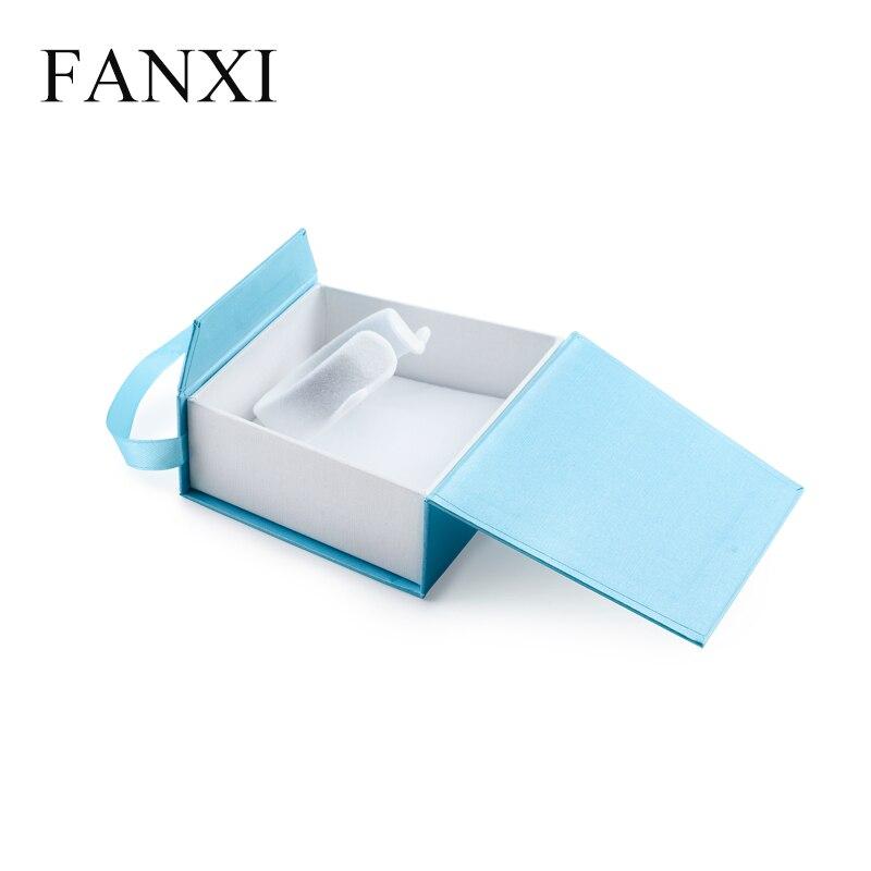 Fanxi DHL Бесплатная доставка 250 шт. цена синего цвета высокого качества Бумага ленты дизайн коробка ювелирных изделий браслета организаторы