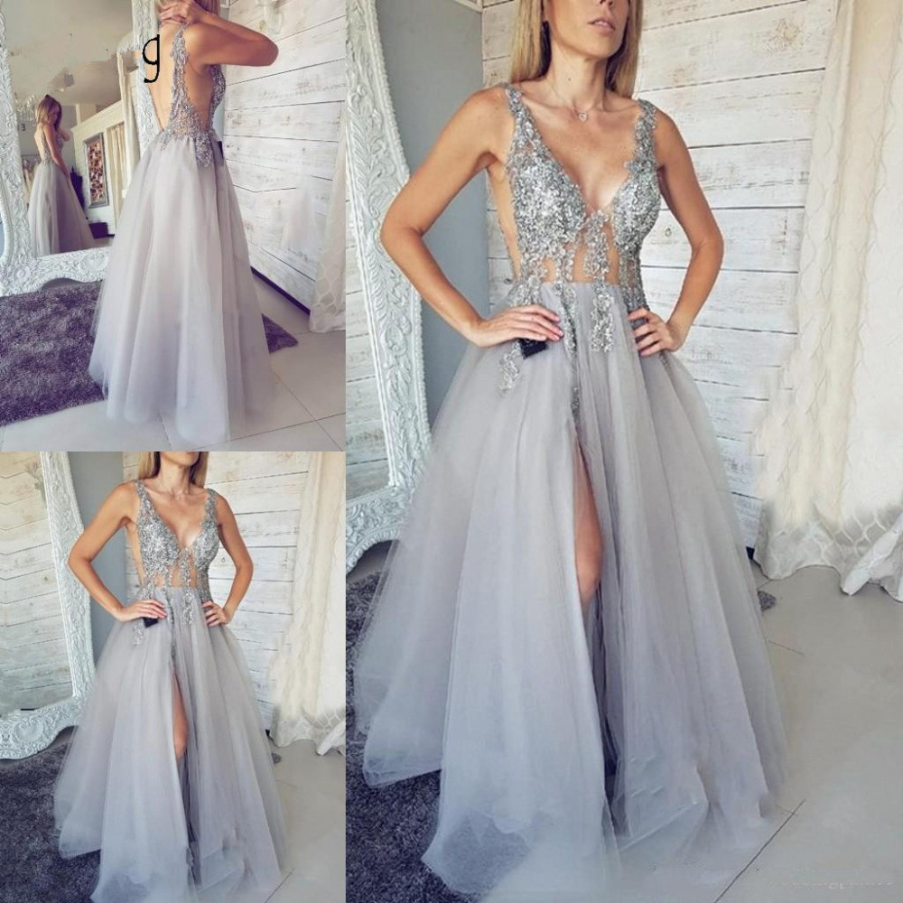 Silver 2019   Prom     Dresses   A-line Deep V-neck Tulle Beaded Lace Slit Party Maxys Long   Prom   Gown Evening   Dresses   Robe De Soiree