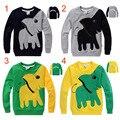 Nuevo 2016 otoño del Resorte de la historieta de manga larga Camiseta de los muchachos niños de algodón T-shirt elefante de la historieta de La Camiseta para las niñas