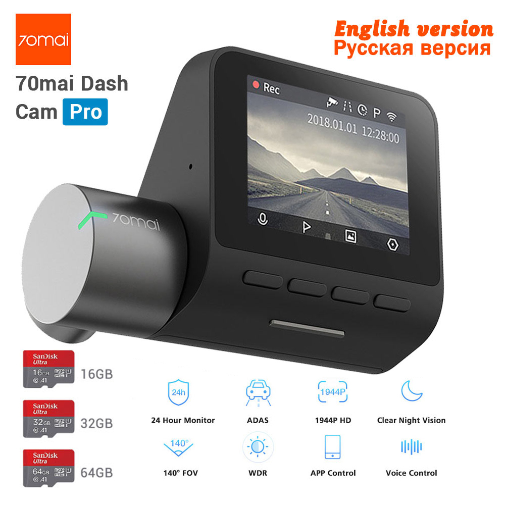 Neue Xiaomi 70mai Dash Cam Pro GPS IMX335 WIFI Stimme Smart Control Night Version DVR 1944 P HD 140FOV Auto cam 24 H Parkplatz Monitor