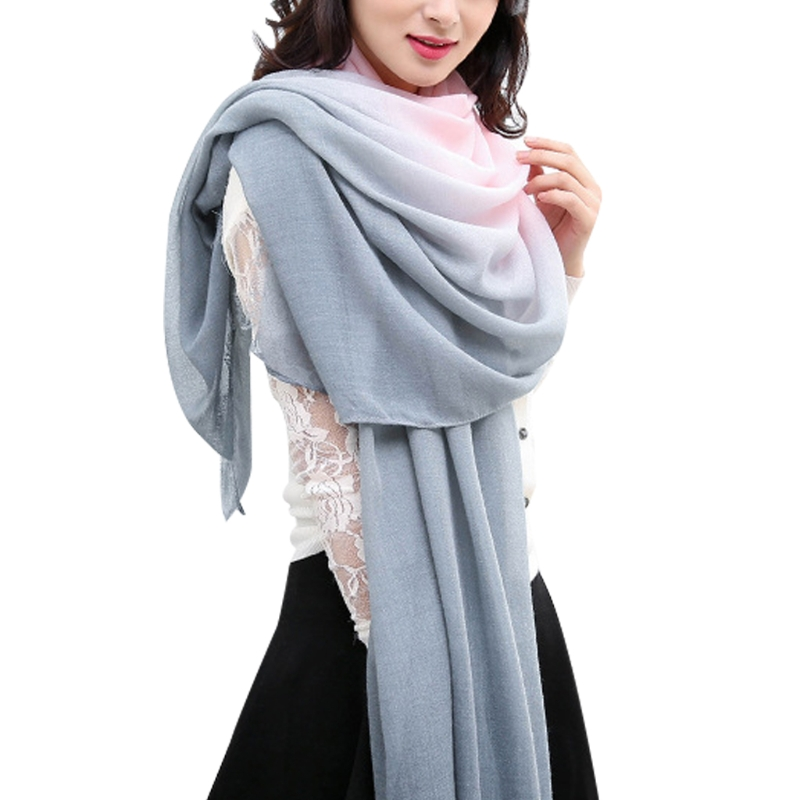 KLV New hot Winter   Scarves     Wraps   For Women Gradient   Scarf   Print Signature Cotton Shawl
