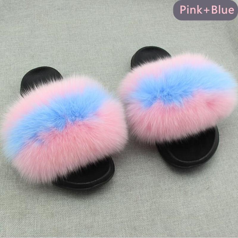 AoXunLong Hot Fox Fur Slides Kvinna Fox Fur Slipper Fox Fur Slippers - Damskor - Foto 6