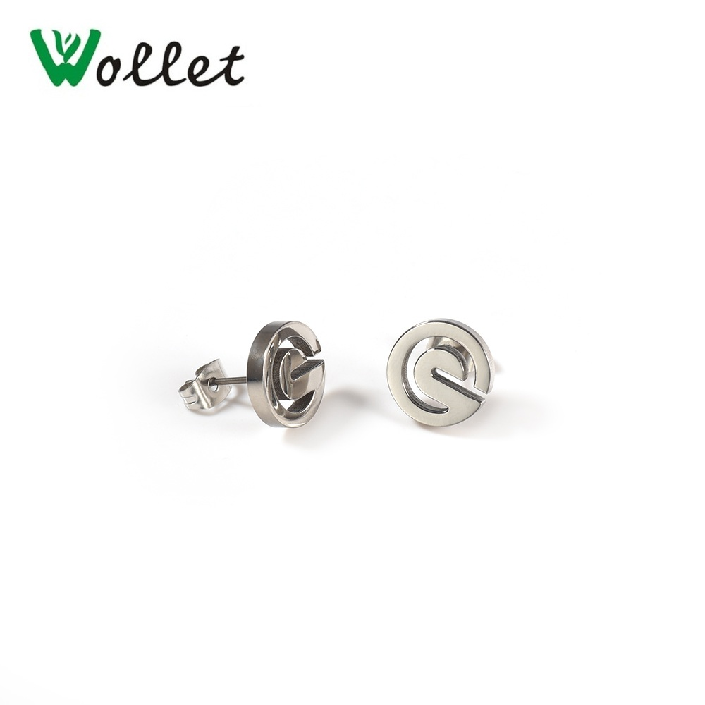Wollet Jewelry Stainless Steel Stud Earring Piecing for Women Men Simple Metallic Silver Color in Stud Earrings from Jewelry Accessories