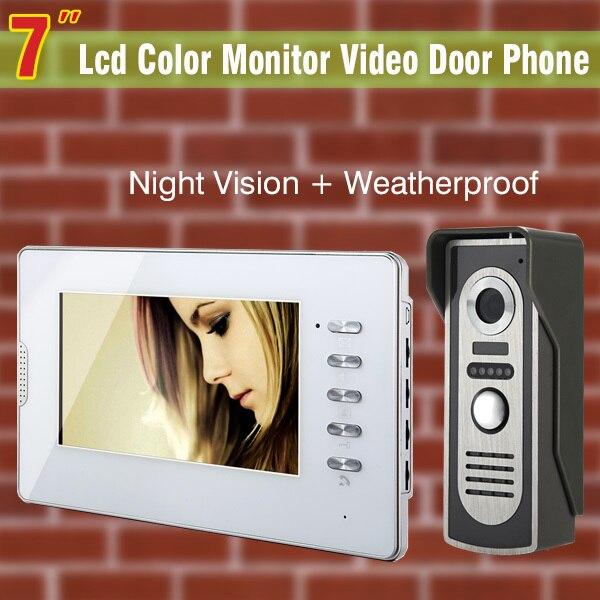7 TFT Цвет Мониторы телефон видео домофон Дверные звонки Системы ИК Камера домофона комплект громкой связи домофон Водонепроницаемый 1V1