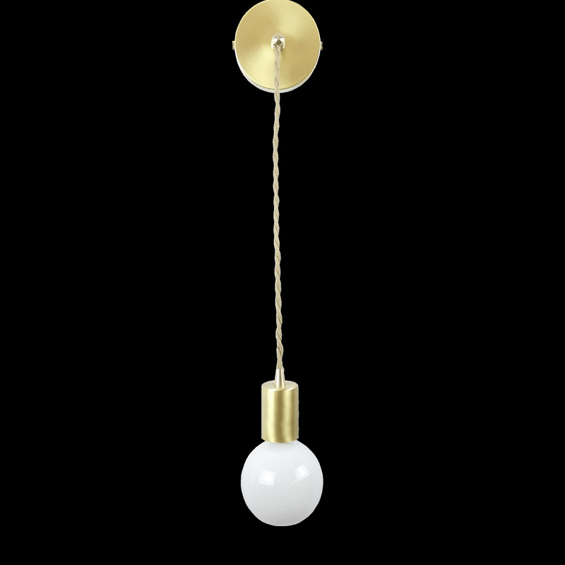 E27 brass socket with fabric wire and ceiling mount copper material wall light 110V 220V simple single head hang sconce fixture e27 brass material socket d220mm clear glass shade fabric twisted wire cord brass material ceiling plate 100