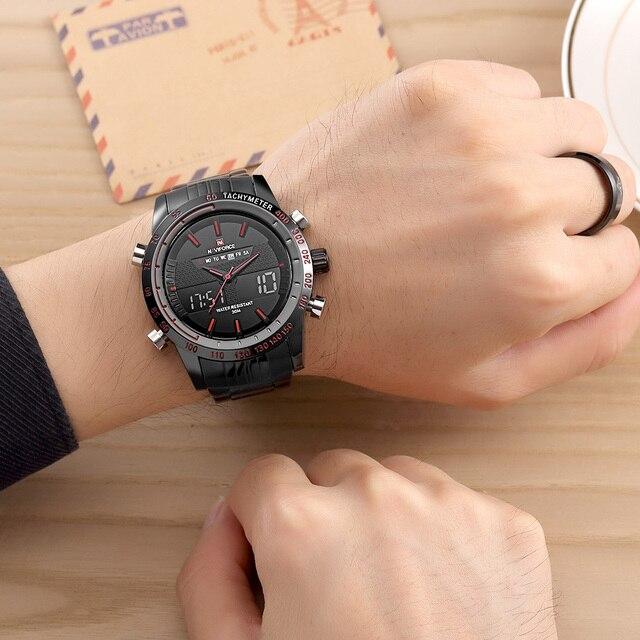 Men Fashion Sport Watches Men's Quartz Digital Analog Clock Man Full Steel Wrist Watch 5