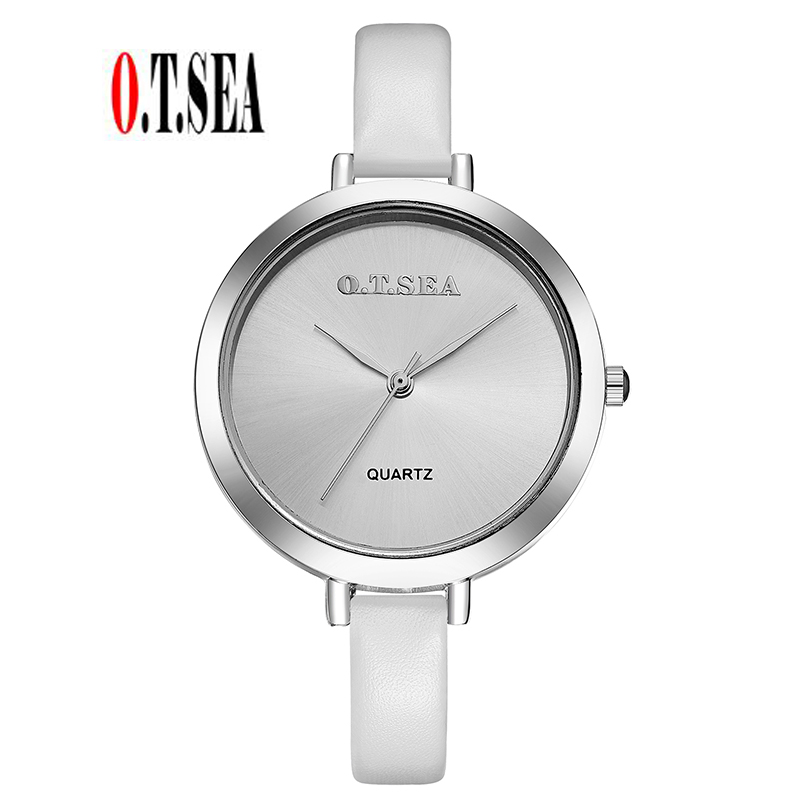 Luxury O.T.SEA Brand Leather Watch Women Ladies Men Fashion Dress Quartz Wrist Watches Relogio Feminino 104 classic simple star women watch men top famous luxury brand quartz watch leather student watches for loves relogio feminino
