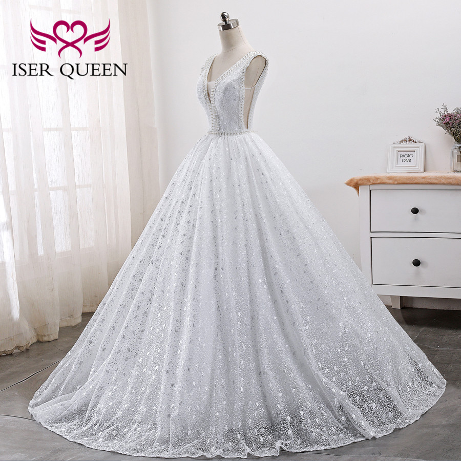 Image 2 - Pearls Beads Embroidery White Bridal Dress Arab Wedding Dresses 2019 New Sleeveless Pretty Lace Princess Wedding Gown WX0005-in Wedding Dresses from Weddings & Events