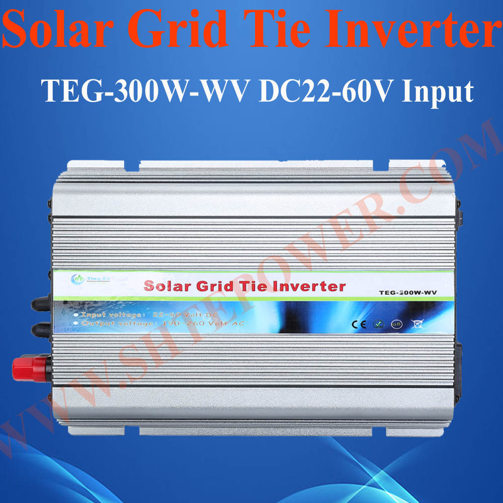 HOT SALE 300W GRID TIE POWER INVERTER CONVERTER DC22V-60V TO AC110V solar power on grid tie mini 300w inverter with mppt funciton dc 10 8 30v input to ac output no extra shipping fee