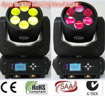 Najnowszy dj 150 W LED DMX z ruchomą głową oświetlenie 12/20 kanał DMX wysokiej jakości 6X25 W wiązka światła LED światła