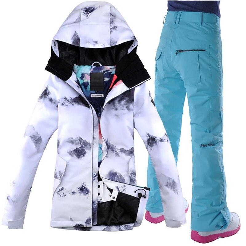 Coupe-vent Snowboard veste vêtements de Ski femmes Ski costume Camp équitation Ski Snowboard veste + pantalon GSOU neige femmes imperméable Ski costume