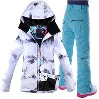 Windproof Snowboard Jacket Ski Wear Womens Ski Suit Camp Riding Skiing Snowboard Jacket+Pant GSOU SNOW Women Waterproof Ski Suit