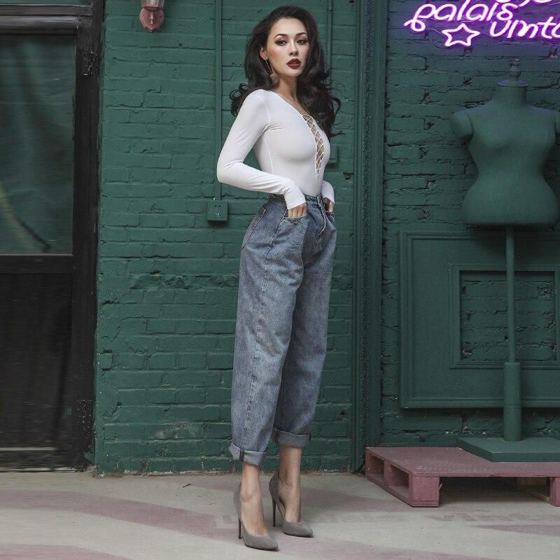 2018 Primavera Elegante High Rise Jeans Donna Tipo Allentato Denim Pantaloni Carota Colore di Base