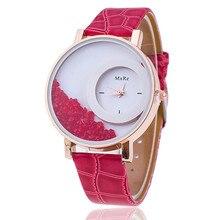 New Fashion Leather Strap Women Rhinestone Wrist Watches Cas