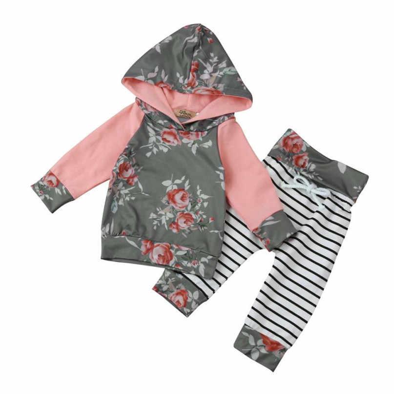 Szary kolor 2017 piękny maluch niemowlę Baby Boy dziewczyna kwiatowy pasek z kapturem topy + spodnie odzież ustaw drop shipped ST28