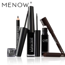 MENOW Eye Cosmetics Set Including Eyeliner Black Brown Eyebrow Pencil Lasting For Up To 24hours