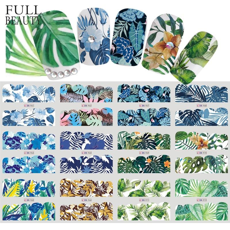 Наклейки для ногтей в виде зеленых листьев и цветов