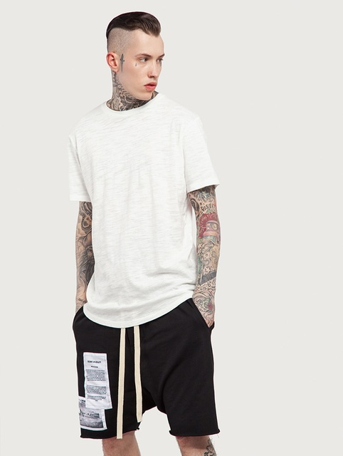 4cdd7b93ecef Oversize Kanye High Street Bamboo Cotton Circular Arc Back Short Sleeve Men T  Shirt Spring Hot Weather T shirt